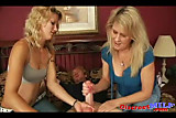 Two blondes give young guy handjob