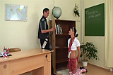 Young Italian student and old teacher
