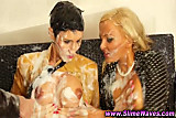 Bukkake lesbo trios cum shower