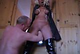Mature with Tied up tits and pussy fisting