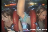 Teen pornstar riding roller coaster naked