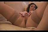 Big tits mature babe in stockings and satin slip strips