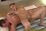 Asian massage babe eagerly sucking dick