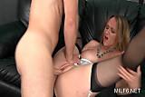 Blonde slutty MILF in stockings gets pink twat fucked h