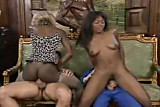Two black girls sharing two white cocks