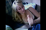 Super cute blonde doing handjob