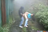 Cute Teen Fucks Her BF In The Rain