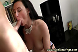Stockings british hussy sucks on cock