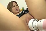 Ai Shirosakia in black and white dots gobbling dick