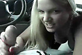 hot bigtit blonde sucks her boyfriend off while driving