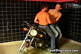 Two naughty bikers getting their round juicy asses fuck