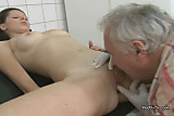 Old Doctor Licks Young Brunettes Pussy