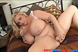 BBW plays with big dildo and cums