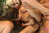 brunette girl blonde shemale threesome