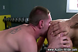 Gay stud gets muscly ass rimmed