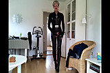 Sissy sexy leather catsuit 2